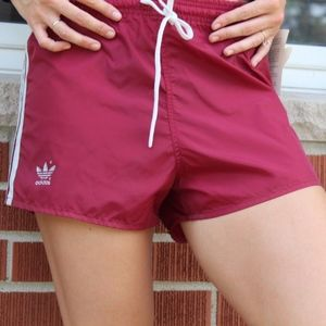 Vintage Adidas Womens Sexy Spell Out Shorts Maroon